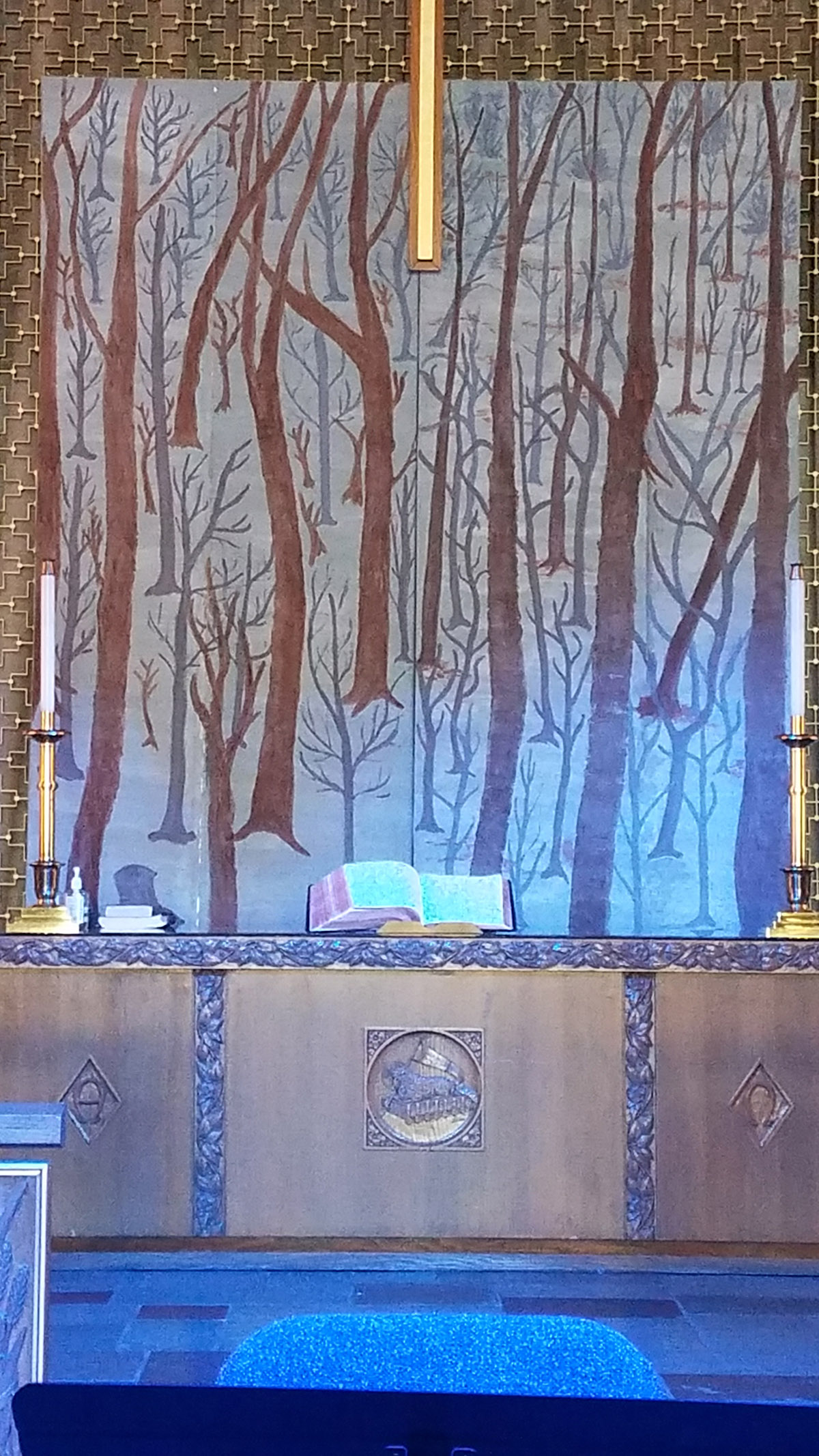 Church Altar Decorated for Gifts of  the Dark Wood Lenten Message Series