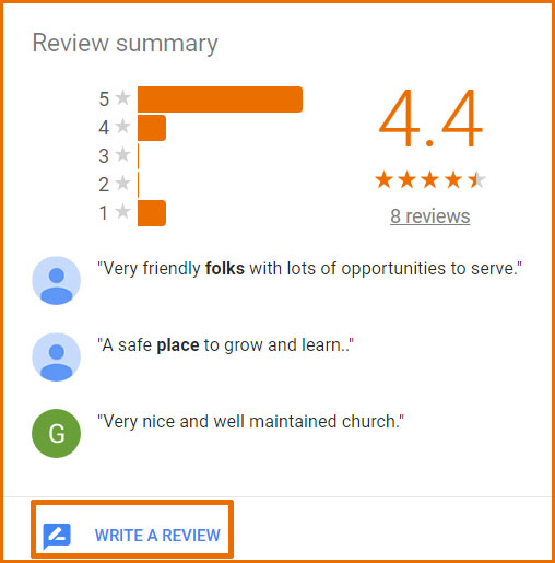 Google review screen