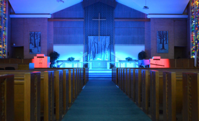 Sanctuary Decorated for Gifts of the Dark Wood Lenten Message Series