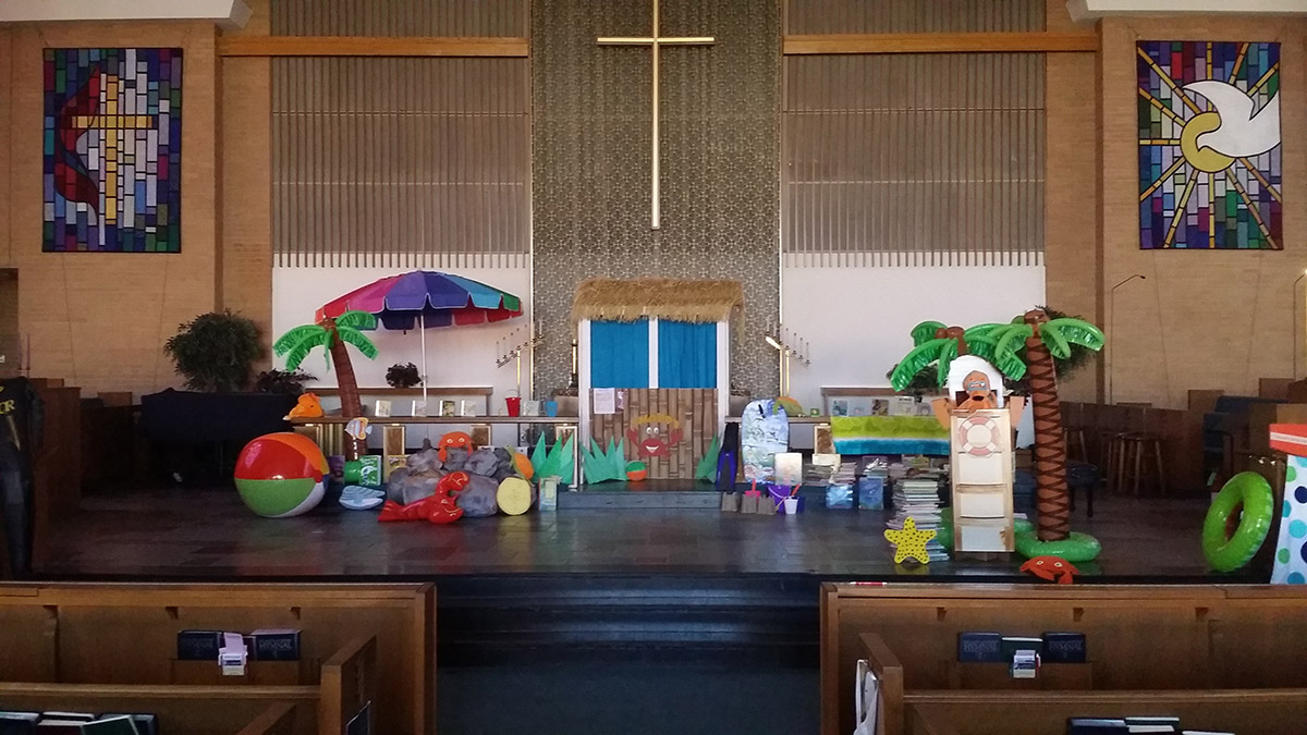 Church Sanctuary Decorated for Surf Shack VBS Program